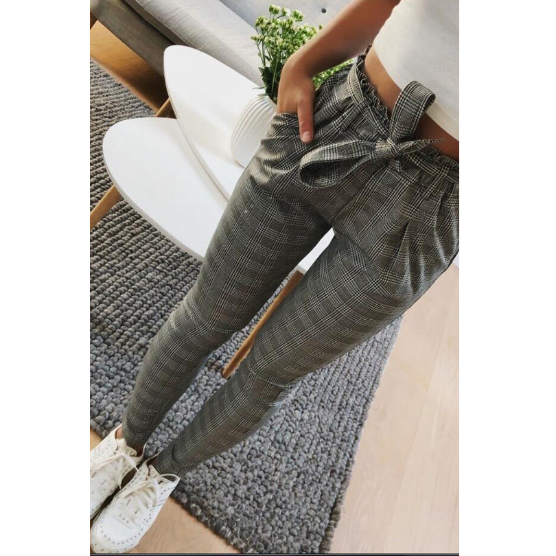 Women's Gray Plaid Ankle-Length Business Casual Office Pants