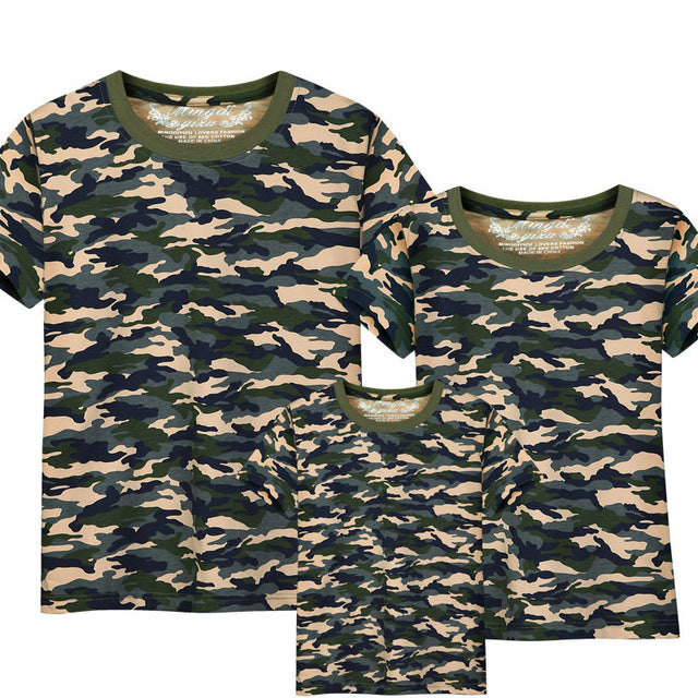 Family Matching Outfits T-shirt Mom Dad boys and girls camouflage cotton100% short-sleeve T-shirt