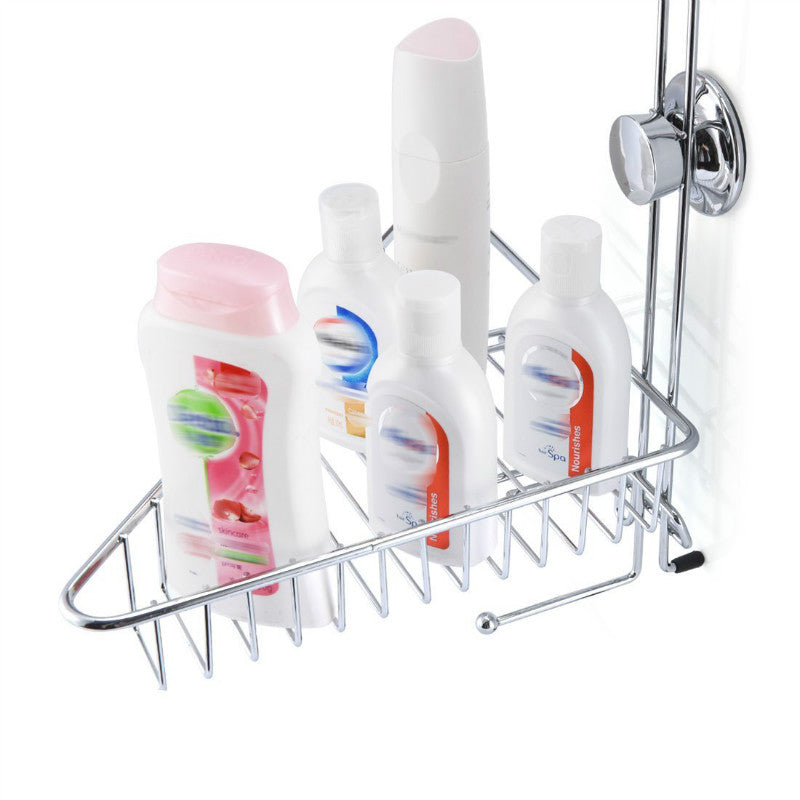 Bathroom Shower Caddy Basket Suction 2 Layers Wall Mount Organizer Stainless Steel Holder Storage Basket Towel Rack Soap Dish