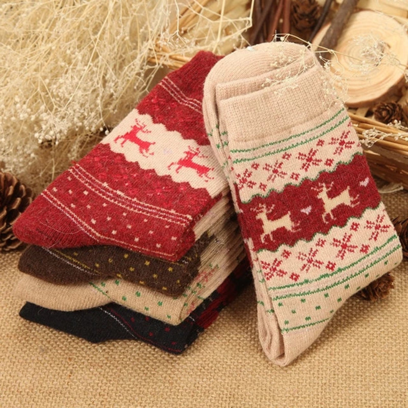 5 Pairs of Women's Autumn Winter Wool Blend Socks