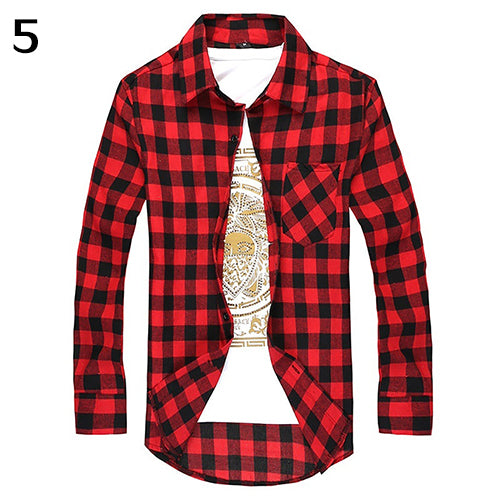 Men's Fashion Casual All-Match Plaid Pattern Long-Sleeved Slim Fit Shirt Top