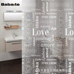 Babaite Love English Letter PEVA Transparent Waterproof  Bathroom Shower Curtain Bath Curtains with 12 Hooks