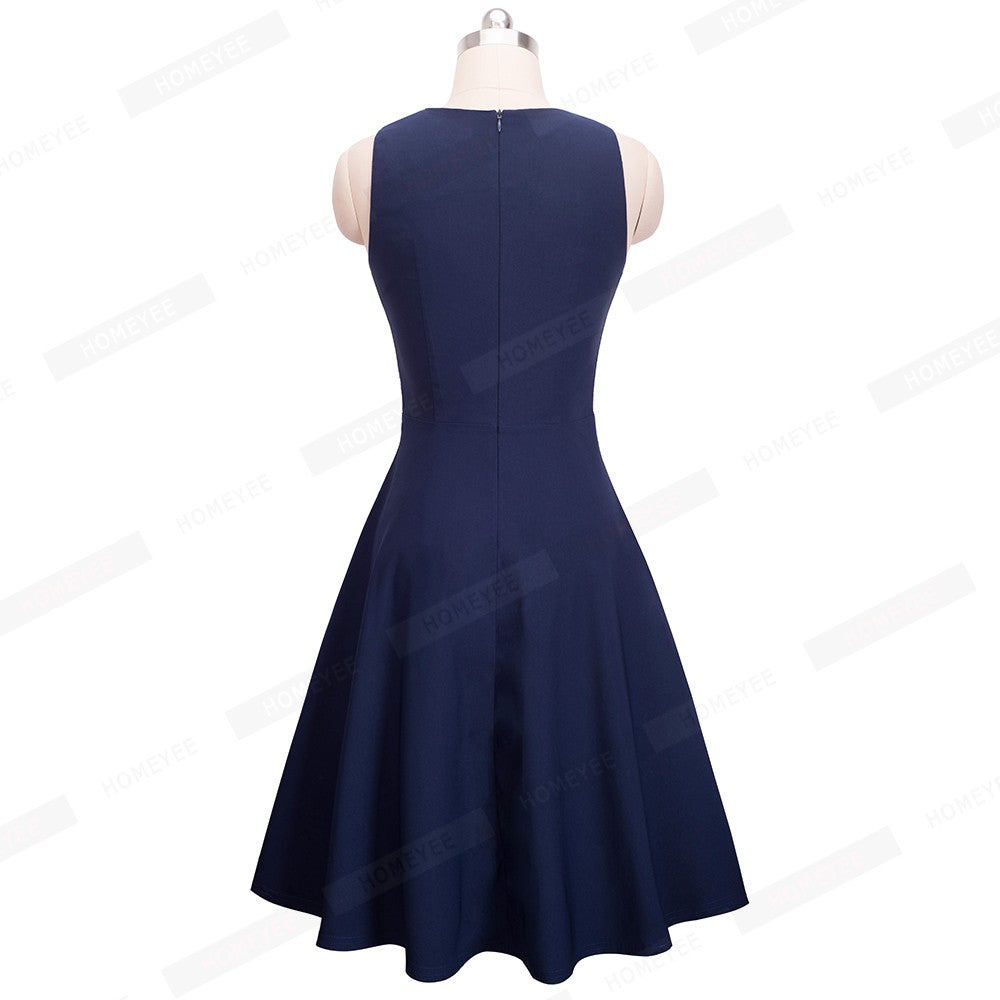 Women's Sleeveless Vintage Swing A-Line Dress
