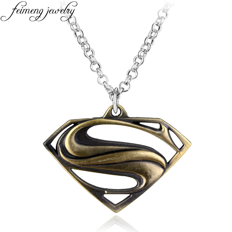 feimeng jewelry DC Superhero Superman Necklace Bronze Super Hero S Logo Pendant Necklace For Fans Fashion Accessories