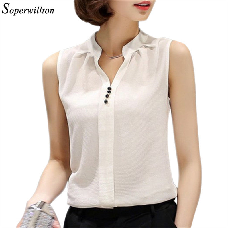 White Chiffon Sleeveless Summer Womens Tops and Blouses Shirts Casual feminine Blouse For Woman V Neck Blusas Feminina #B8