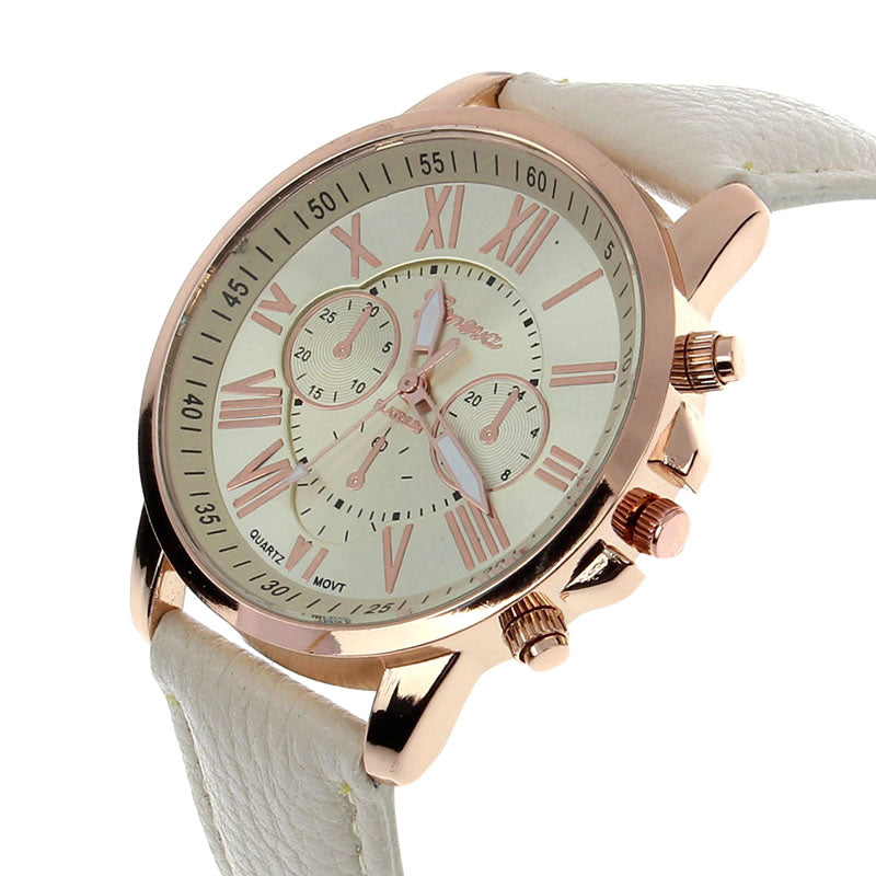 Splendid New Women's Fashion Geneva Roman Numerals Khaki Faux Leather Analog Quartz Wrist Wristwatches