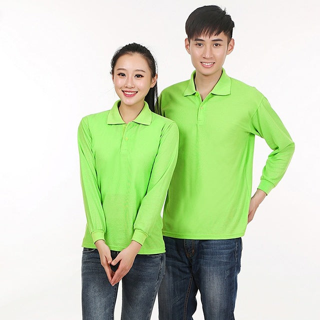 Polo Shirt Men Long Sleeve Blusas Solid Color Women Tops