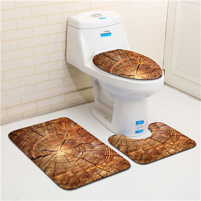 3PCS Creative Wood Pattern Toilet Seat Cover Set