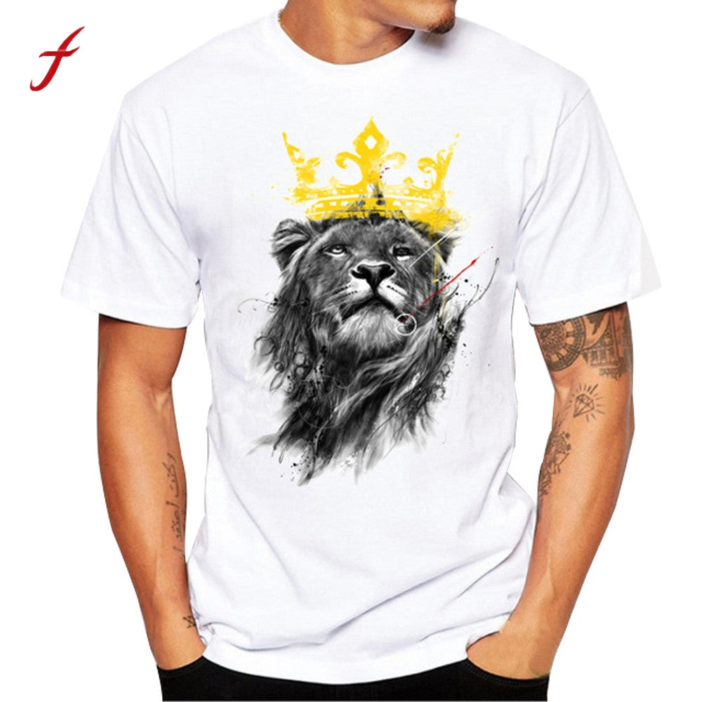 plus size mens tee shirts fashion t-shirts men funny t shirt brand mens funny t shirts casual lion print big size