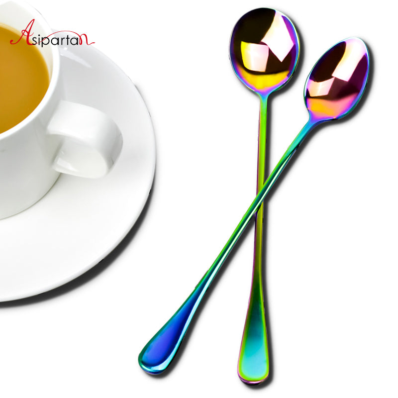Asipartan Stainless Steel Rainbow Long Handled Coffee Scoops Cold Drink Stirring Spoon For Dessert Cake Tea Coffee Scoop 19.4cm