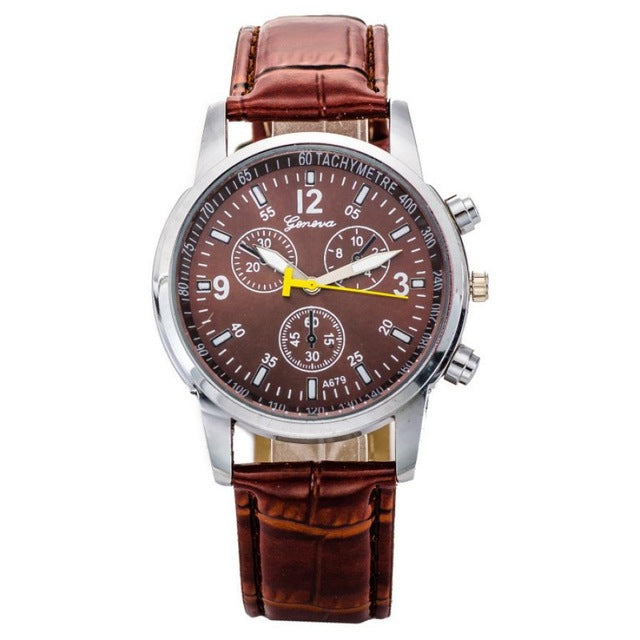 Splendid Luxury Brand Fashion Men's Watches Crocodile Faux Leather Band Clock Stylish Analog wristwatches clock