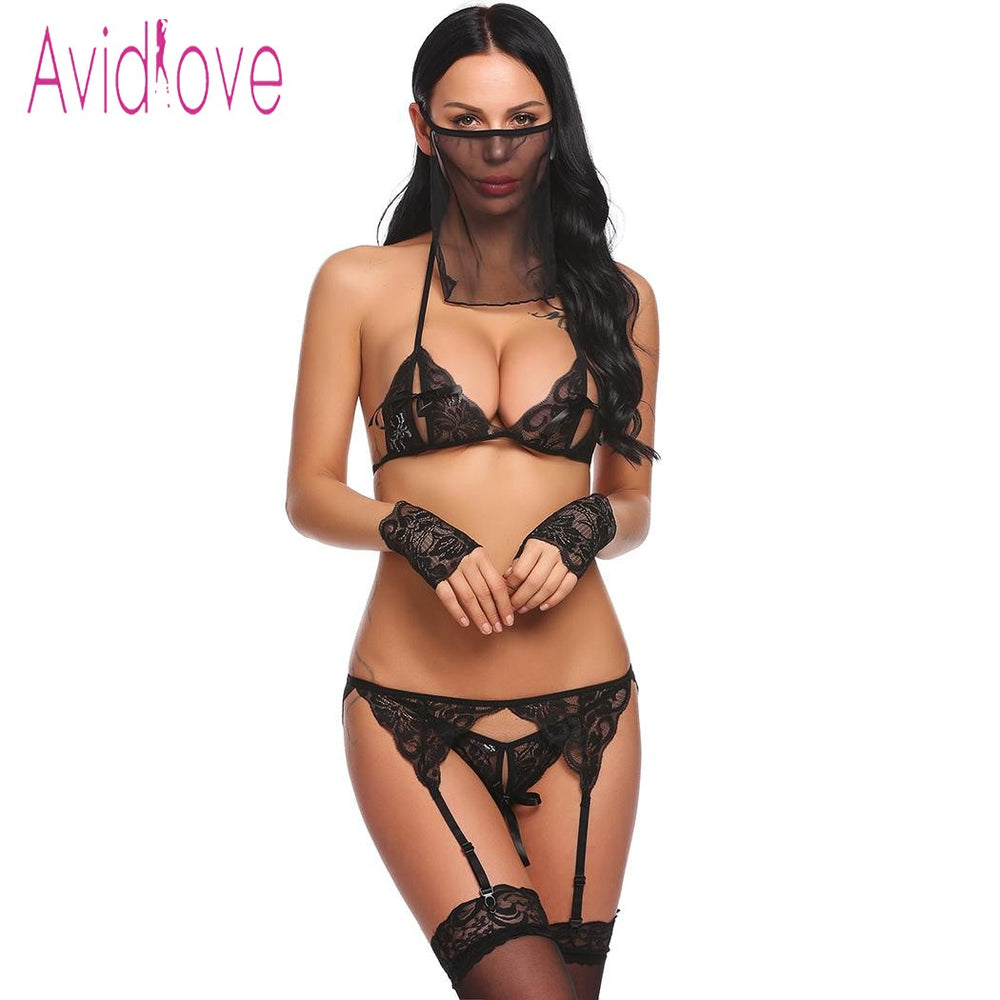 Women   5 Pieces Lingerie Set Lace Bra with Thong Brief Garter Floral Underwear Baby Doll Exotic Clothes