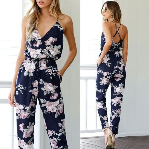 Women's Sleeveless Casual Floral Romper
