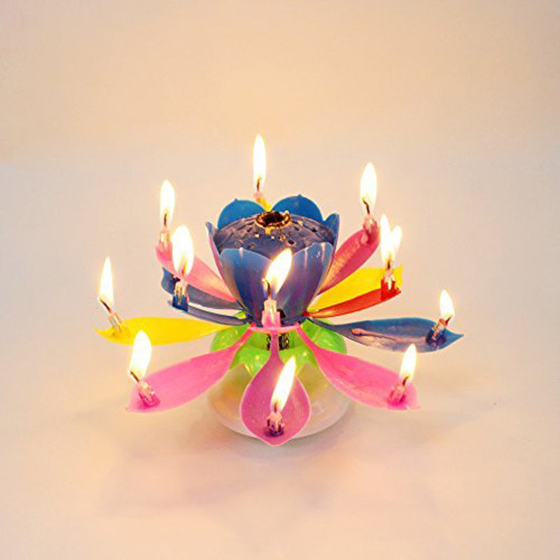 AsyPets 1pcs Lotus Flower Candle Birthday Party Cake Topper Music Spar