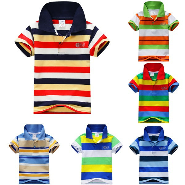 Boys Infant Casual Striped Collar T-shirt