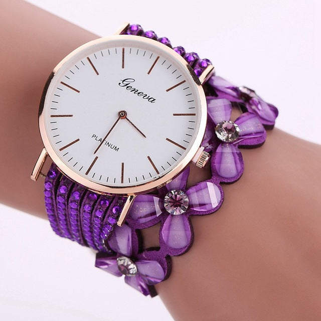 Women's Elegant Casual Crystal Floral Bracelet & Wrist Watch