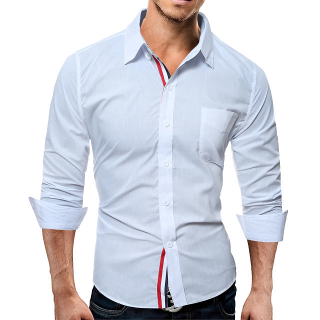 Brand Fashion Male Shirt Long-Sleeves Tops Color Casual Mens Dress Shirts Slim Men Shirt 3XL ASDF 10