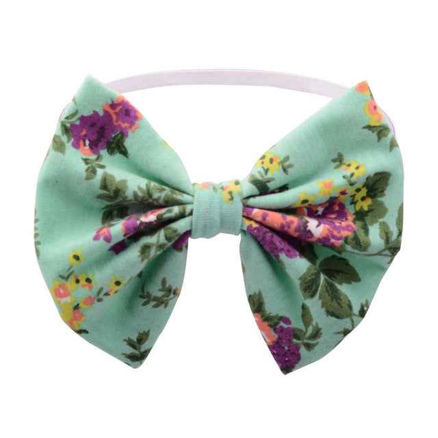 Girls Vintage Floral Aqua Headband