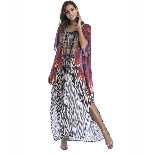 Plus size Chiffon fashion print Bohemian long maxi dress boho clothing summer sundress Beach Sarongs large size robes women