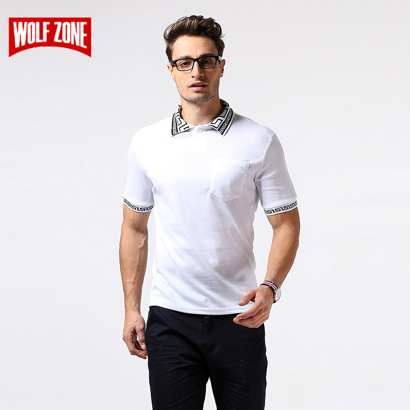 WOLF ZONE Brand Summer Polo Shirt Men Breathable Business Fashion Casual Mens Short Sleeve Solid Cotton Polo Shirts Clothing