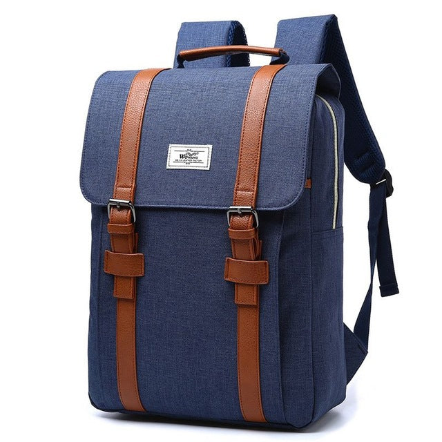 Vintage Large Canvas High Fashion Buckle Strap Backpack