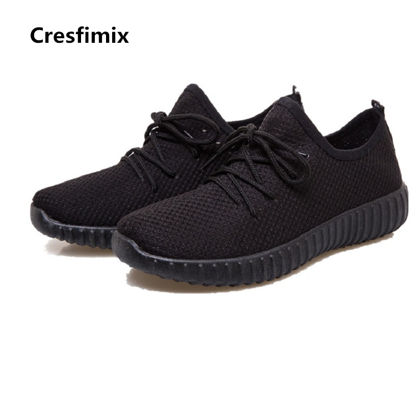 Cresfimix women plus size casual shoes female soft & comfortable outdoor lace up shoes lady leisure black & red shoes zapatos