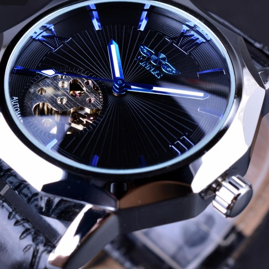 Men's Stainless Steel Blue Ocean Geometry Dial Watch