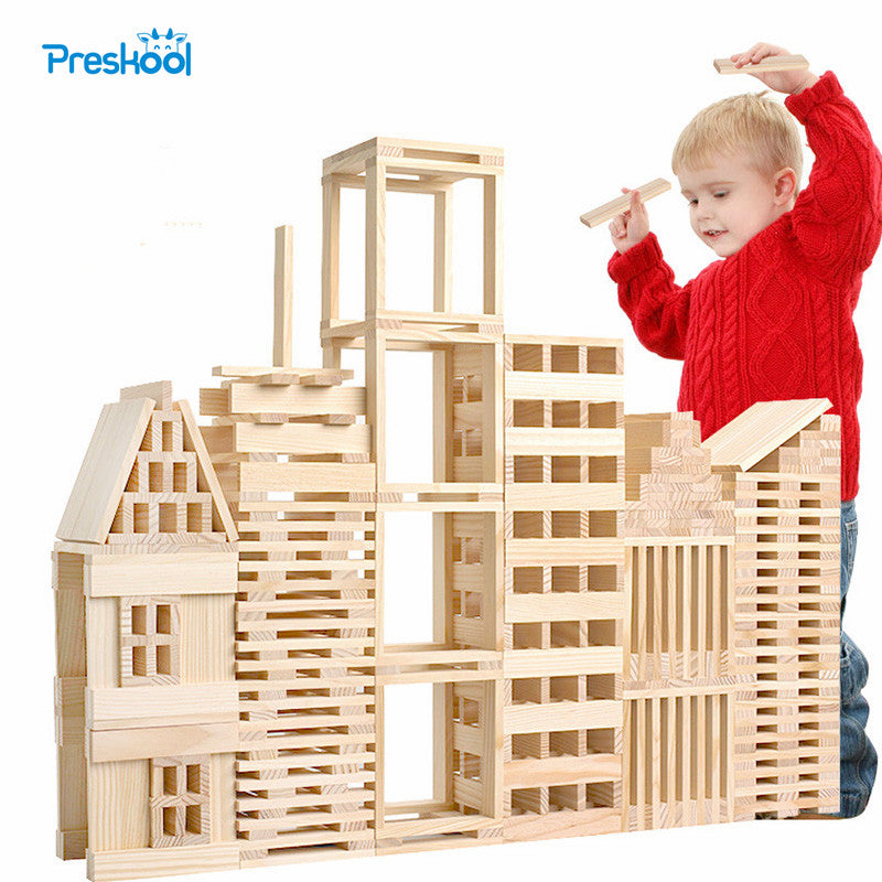 Montessori Kids Toy Baby Jenga Wood 100 Pcs Blocks Building Learning Educational Preschool Training Brinquedos Juguets
