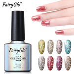 FairyGlo 10ML Bling Gel Polish Glitter Soak Off UV Gel Nail Polish Lacquer Primer Base Top Paint Hybrid Varnish Gellak Lucky