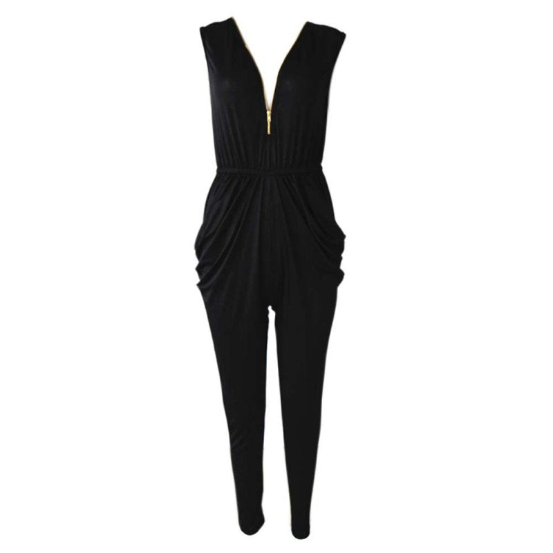 Autumn Winter Fashion Style All-match Casual Rompers Jumpsuits Womens Zipper Sportswear Jumpsuits