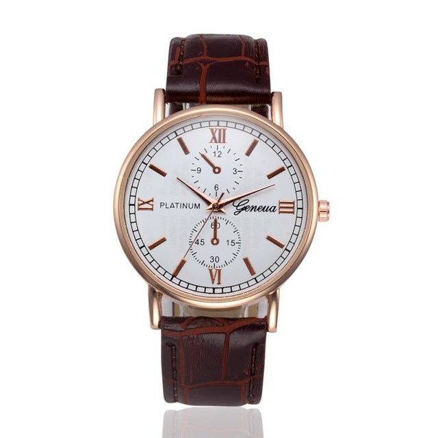 Men's Business Retro Design Leather Band Analog Quartz Wrist Watch