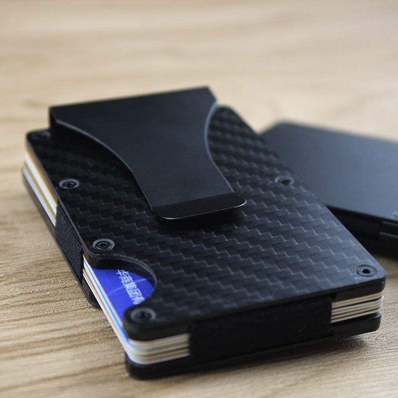 Slim Carbon Fiber RFID Protected Metal Card Holder Money Clip