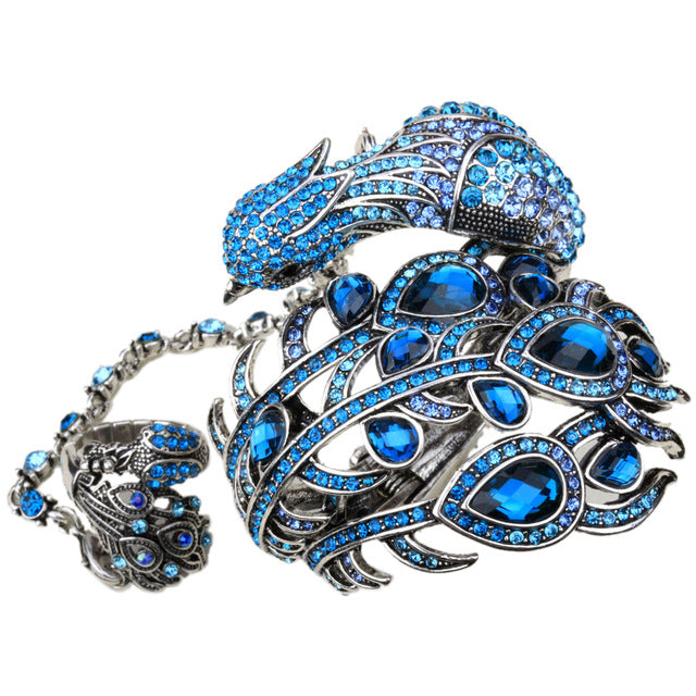 Peacock Bangle Bracelet Slave Hand Chain Attached Ring Set