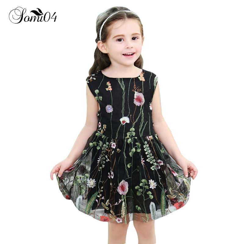 Elegant Girls Embroidery Floral Vest Backless Dress Clothing Fashion Gauze Mesh Kids 1 2 3 4 5 6 7 8 Years Lace Summer Dresses