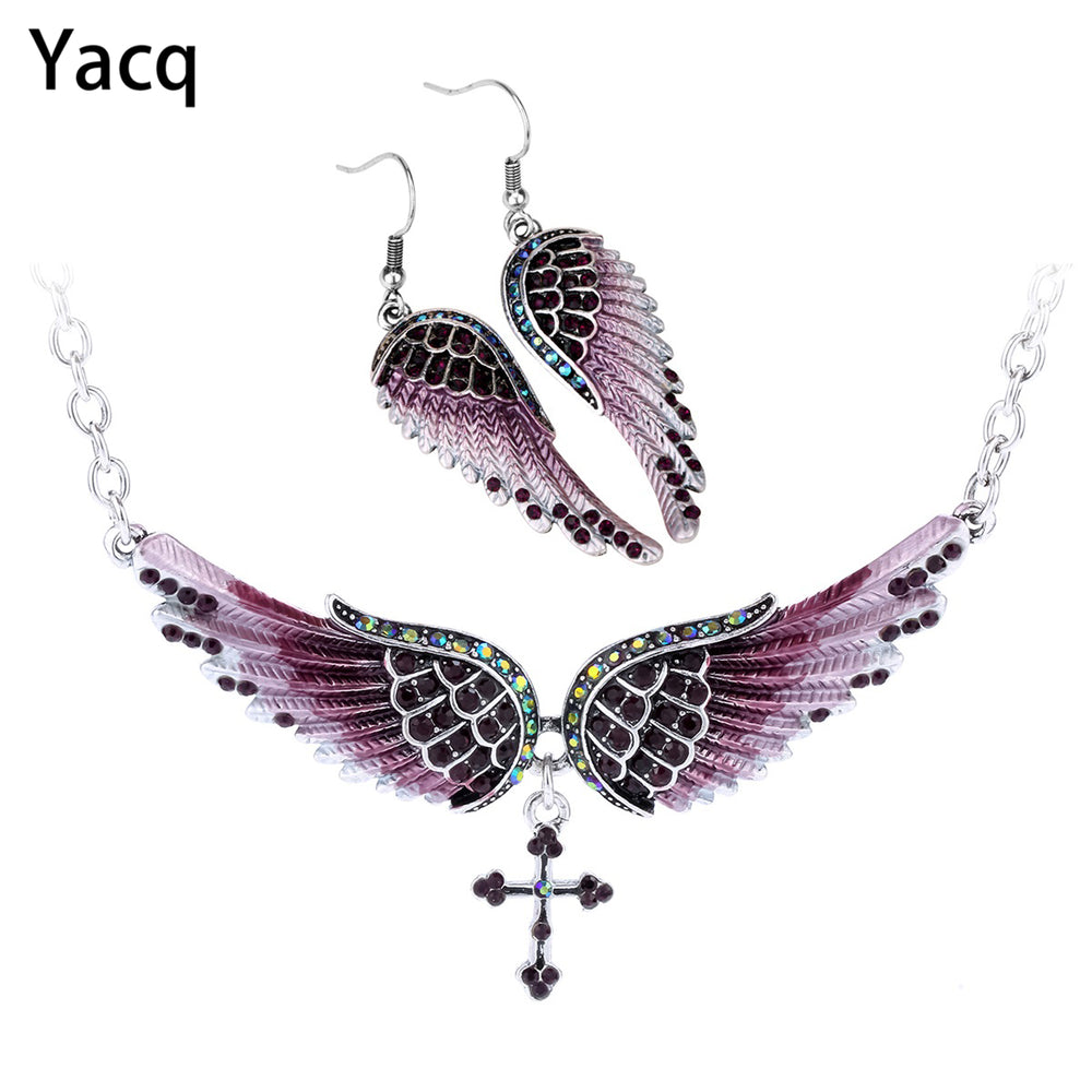 Yacq Angel Wing Cross Necklace Earrings Sets Women Biker Bling Jewelry Birthday Gifts for Her Wife Mom Girlfriend