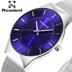 Readeel Top Brand Mens Watches Luxury Quartz Casual Watch Men Stainless Steel Mesh Strap Ultra Thin Dial Clock relogio masculino