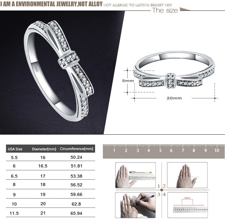 LZESHINE Fashion 925 Sterling Silver Rings Micro Pave CZ Bow Knot Stackable Ring for Women Gift Wedding Jewelry PSRI0005-B