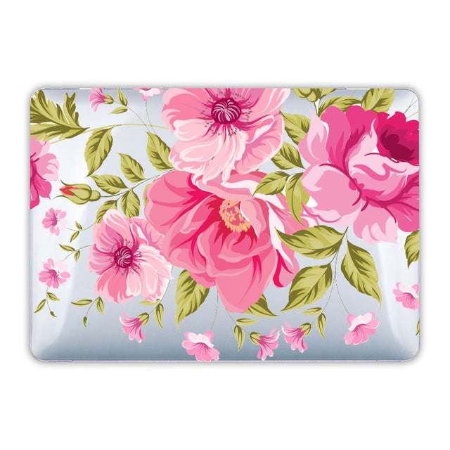Floral Crystal Clear Print Hard Case For Macbook Pro 13 15 Touch bar Laptop bag Air Pro Retina 12 13 15 with Keyboard Cover