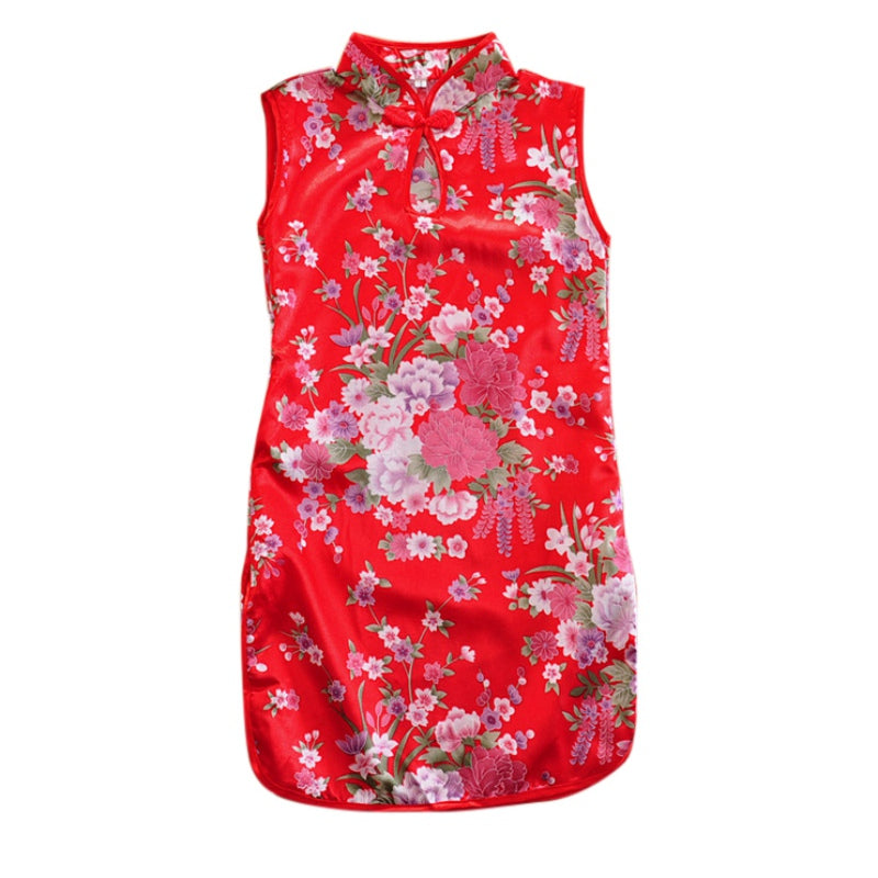 Summer  Girls Modern Wedding Princess Dresses Red Pink Peony Kids Dress Sleeveless Print Lovely Girl Dress Vestidos