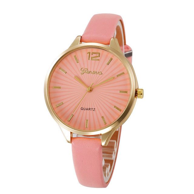 watch women Faux lady dress watch, women's Casual Leather quartz-watch Analog women's gifts Relogio Feminino