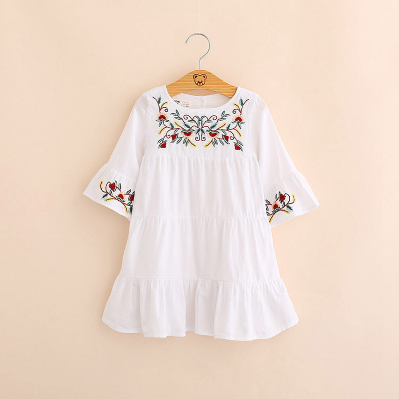 IMMDOS Dresses For Girls Spring Embroidery Cotton Princess Dress Children Autumn Vestidos Long Sleeve Fashion Clothes