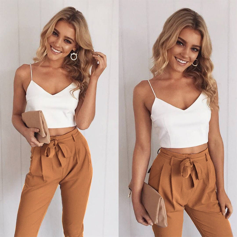 Spring Summer Women Two Piece Outfits Pants Set Rompers Jumpsuit Long Pants 2 Piece Set  V-neck Crop Tops Bodycon Palysuit
