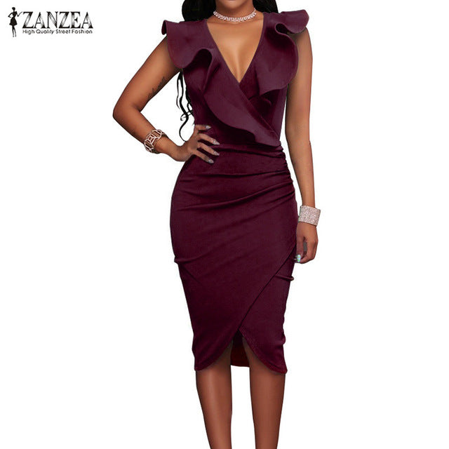 ZANZEA Women Summer Dress   Sleeveless V Neck Pencil Party Dresses Ladies Ruffles Bodycon Slim Midi Club Vestidos