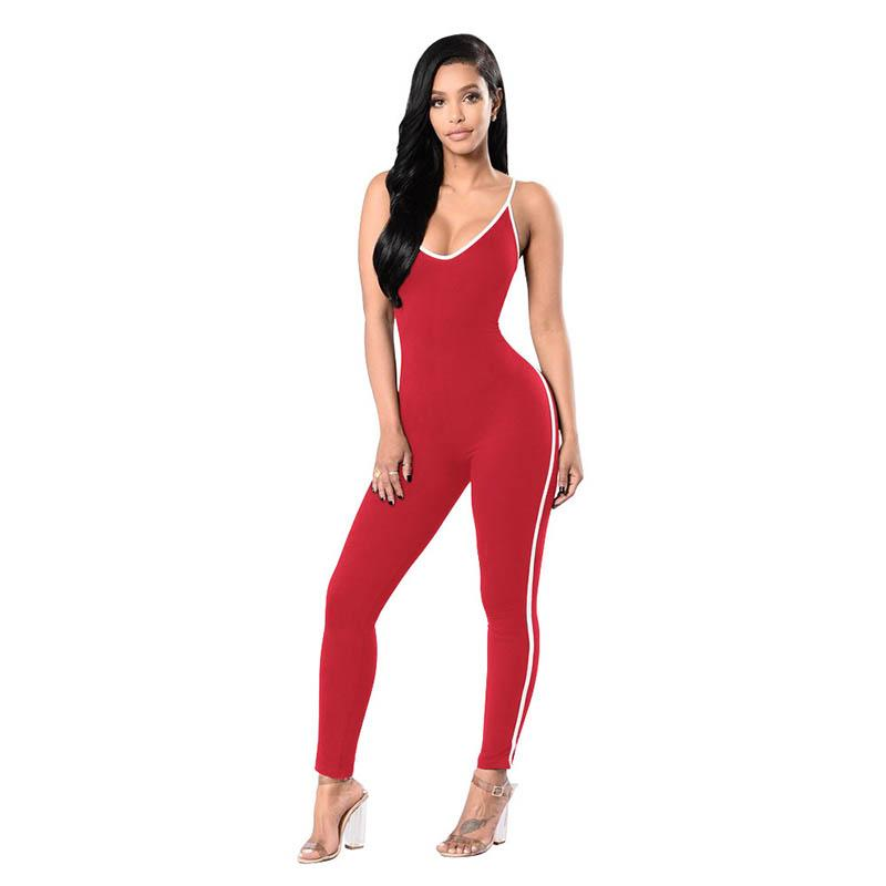 Women Jumpers and Rompers Sexy Bodysuits Stripe Sleeveless Romper Cami Bodysuit Striped Pants Body for women
