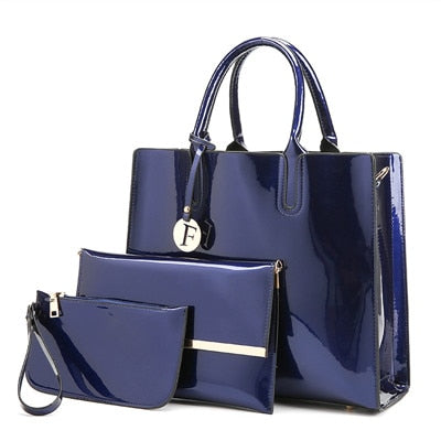 3 Piece: Women's Patent Leather Tote & Handbags