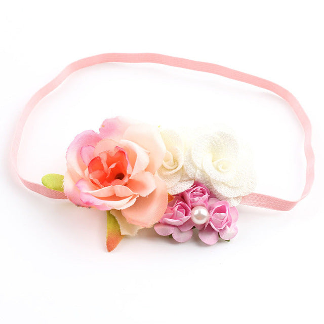 Newborn Flower Headbands Photography props Girls Rose Flower Headwear Newborn Hair Bands Hair Accessories