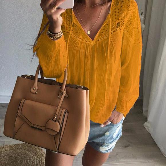 Women's Loose Fit Lace Crochet V-Neck Blouse