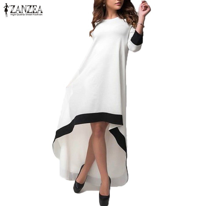 ZANZEA Fashion Women Dress Autumn Long Maxi Party Dresses Patchwork Asymmetrical O Neck Vestidos Plus Size S-5XL