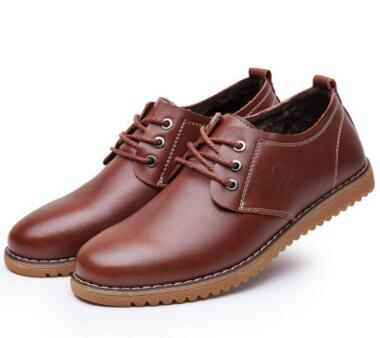 YWEEN Spring Autumn Men's Leather Shoes Lace-up Style Pure Color Flats Dress Shoes Large Size