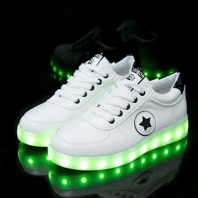 Spring 7 Colors Flashing USb Recharge Luminous Sneakers Glowing Led Shoes Light Up Women Sneakers Girls Shoes Boys Kid